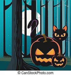 mindenszentek napjának előestéje, sütőtök, színhely, éjszaka, macska, erdő, fekete
