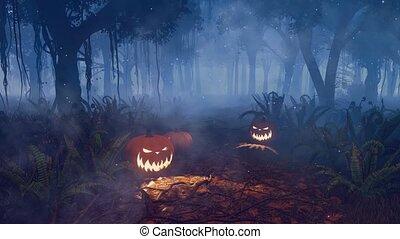 mindenszentek napjának előestéje, varázslatos, sütőtök, 4k, éjszaka, erdő
