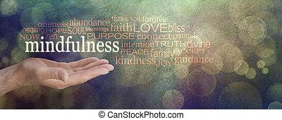 mindfulness, banne, grunge, szó, felhő