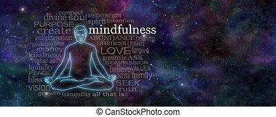 mindfulness, elmélkedés, fogalom, transzparens