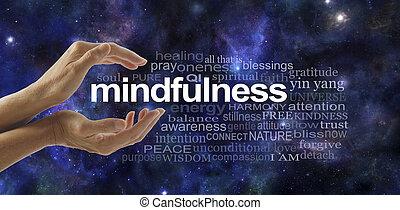 mindfulness, felhő, szó, elmélkedés