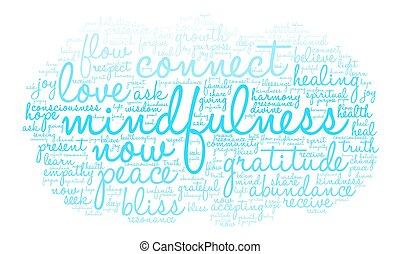 mindfulness, felhő, szó