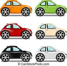 mini, autó, hat, befest, nagy tol