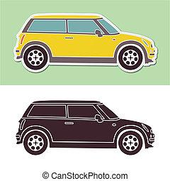 mini, mód, csípős autó