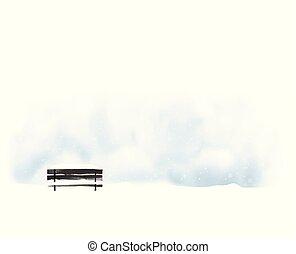 minimalista, mód, ábra, táj, fekete, snowfall., öreg, bírói szék, vektor, tél