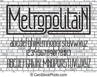 minimalistic, font., betűkép, metropolitain