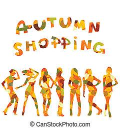 mintás, bevásárlás, zöld, ősz, körvonal, hirdetés, esés, nők