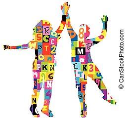 mintás, körvonal, irodalomtudomány, számok, gyerekek