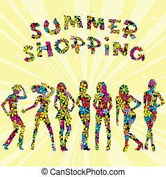 mintás, nyár, árnykép, hirdetés, bevásárlás, menstruáció, nők