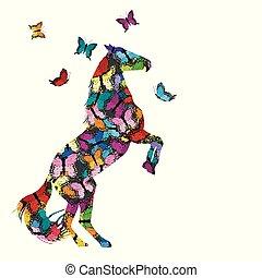mintás, pillangók, ló, ábra, színes