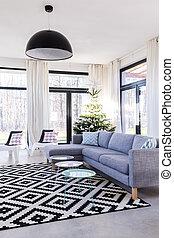 mintás, szoba, tágas, szőnyeg