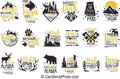mintalécek, alapismeretek, vadon, színes, promo, sorozat, nemzeti park, alaszka, körvonal, vektor, tervezés, cégtábla