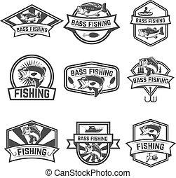 mintalécek, backgroun, állhatatos, embléma, basszus, elszigetelt, halászat, fehér