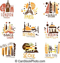 mintalécek, különböző, állhatatos, színes, touristic, promo, utazás ügynökség, aláír, -eik, tervezés, építészet, városok, idegenforgalom
