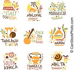 mintalécek, különböző, állhatatos, színes, touristic, promo, utazás ügynökség, aláír, híres, kifogásol, tervezés, országok, idegenforgalom, -eik