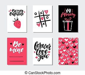 mintalécek, szeret, tehetség, printable, set., valentines, quotes., kéz, vektor, kártya, húzott, nap, felirat, struktúra