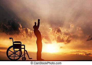 miracle., feláll, meghibásodott bábu, álló, wheelchair., orvosi, gyógyít