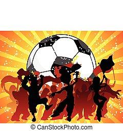 misét celebráló, game., tolong, futball, hatalmas