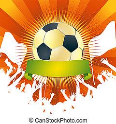 misét celebráló, hatalmas, futball, tolong, game.