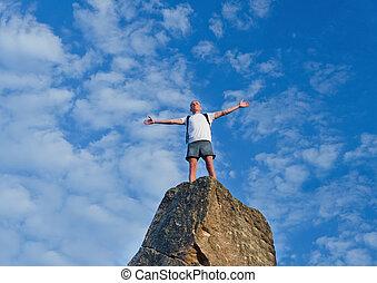 misét celebráló, hegy tető, ember, elérő