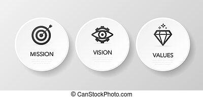 mission., tervezés, values., illustration., concept., vision., gombol, modern, ikon, fehér, vektor, lakás, háttér.