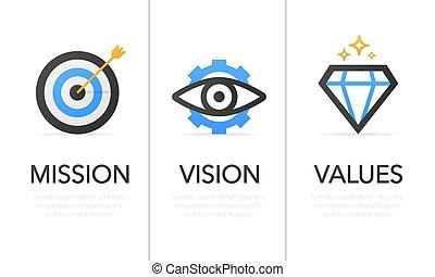 mission., tervezés, values., illustration., concept., vision., modern, ikon, fehér, vektor, lakás, háttér.