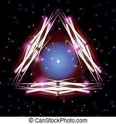 misztikus, háromszög, fényes, pattog