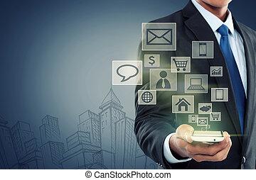 mobile kommunikáció, modern technology, telefon
