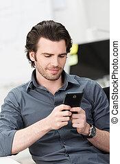 mobile telefon, övé, texting, üzletember