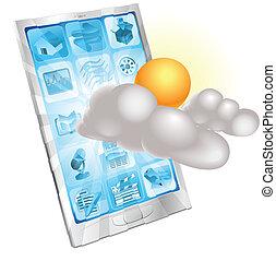 mobile telefon, fogalom, időjárás, alkalmazás