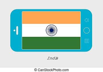 mobile telefon, lobogó, india