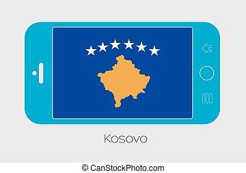 mobile telefon, lobogó, kosovo