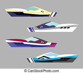 modern, ábra, szállít, hajó, tenger, változat, jacht, hajózás, boat., icons., vektor