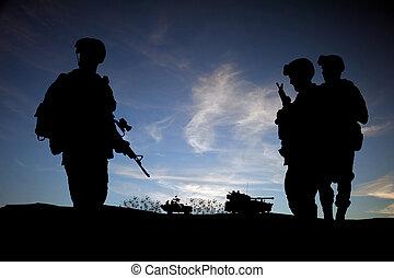 modern, árnykép, jármű, ég, ellen, középső, napnyugta, háttér, katona, kelet, nap