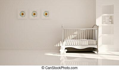 modern, belső, minimális, gyermekszoba