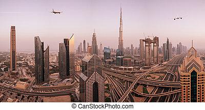 modern, city., repülés, kereskedelmi, felül, repülőgép