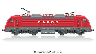 modern, elektromos, piros, lokomotív