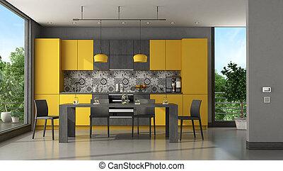 modern, fekete, konyha, sárga