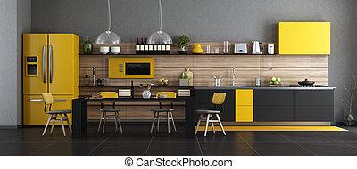 modern, fekete, sárga, konyha