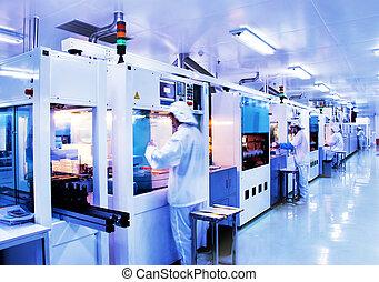 modern, gyár, szilícium, termelés, nap-, automatizált, egyenes