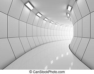 modern, hosszú, folyosó