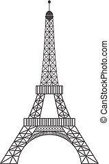 modern, illustration., romantikus, párizs, jelkép, eiffel, sketched, ábra, france., vektor, fekete, tower., landmark., bástya, image., concept., városnézés