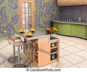 modern, konyha, belső