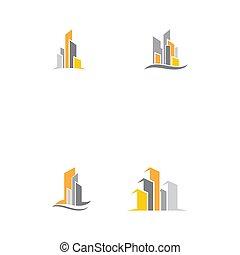 modern, vektor, silhouette., állhatatos, láthatár, város, ábra