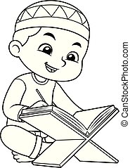 mohamedán, bw, fiú olvas, korán