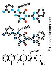 molekula, kábítószer, 4, linagliptin, inhibitor)., (dipeptidyl, dpp4, vagy, peptidase, cukorbaj
