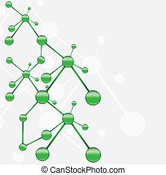 molekula, zöld, ezüst, háttér