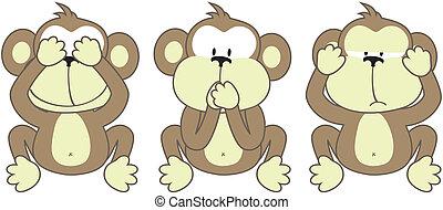 mondás, három, majmok