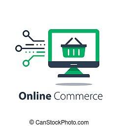 monitor, élelmiszerbolt, megvásárol, internet bevásárlás, online, kosár, számítógép