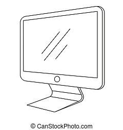 monitor, elszigetelt, ábra, háttér., vektor, számítógép, fehér
